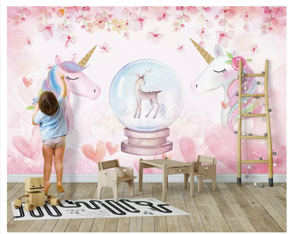 Us 9 0 40 Off Beibehang 2019 New Fashion Personality Decorative Painting Stereo Watercolor Unicorn Wall Papers Home Decor Wallpaper Behang In