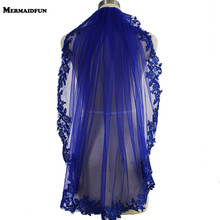 100% Real Photo Blue Sequins ลูกไม้ขอบงานแต่งงาน Veil Gorgeous Single Layer ผ้าคลุมหน้าเจ้าสาวด้วยหวี Velos de Novia