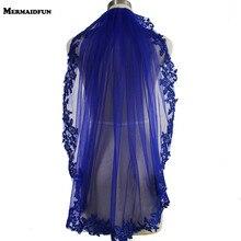 100% الصورة الحقيقية الأزرق الترتر الدانتيل حافة قصيرة طرحة زفاف رائع طبقة واحدة الزفاف الحجاب مع مشط Velos دي Novia