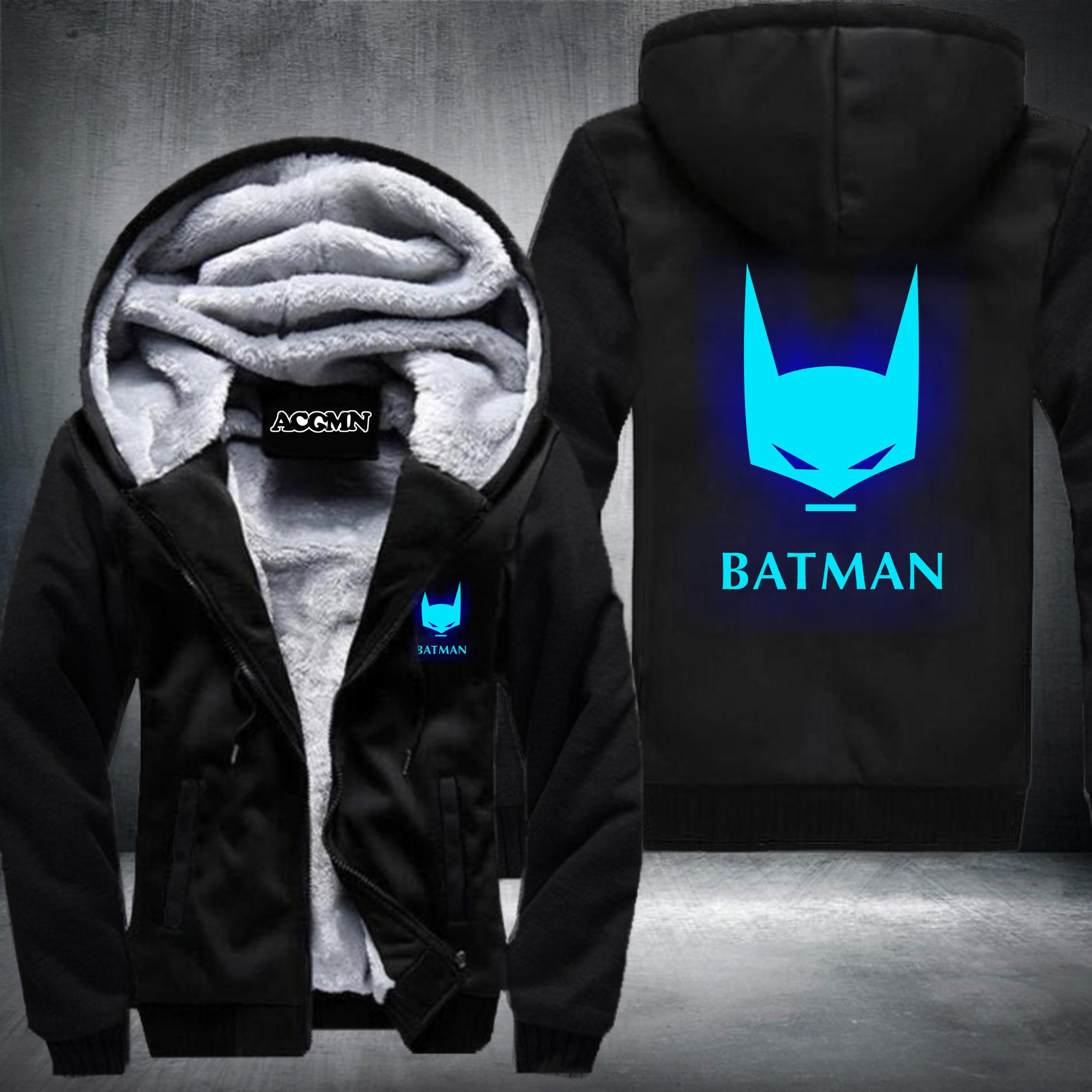 New Winter Jackets and Coats BATMAN hoodie Anime Luminous Hooded Thick Zipper Men cardigan Sweatshirts 4 styles USA Size