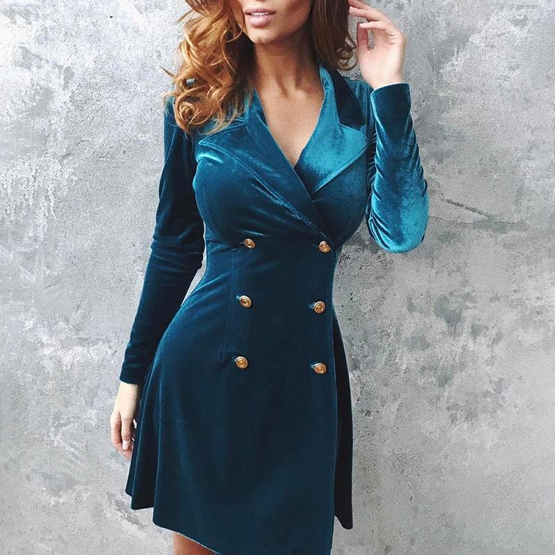 Double breasted velvet <font><b>dress</b></font> women Slim fit long sleeve <font><b>dresses</b></font> Elegant ladies <font><b>blue</b></font> bodycon <font><b>dress</b></font> Autumn short vestidos mujer