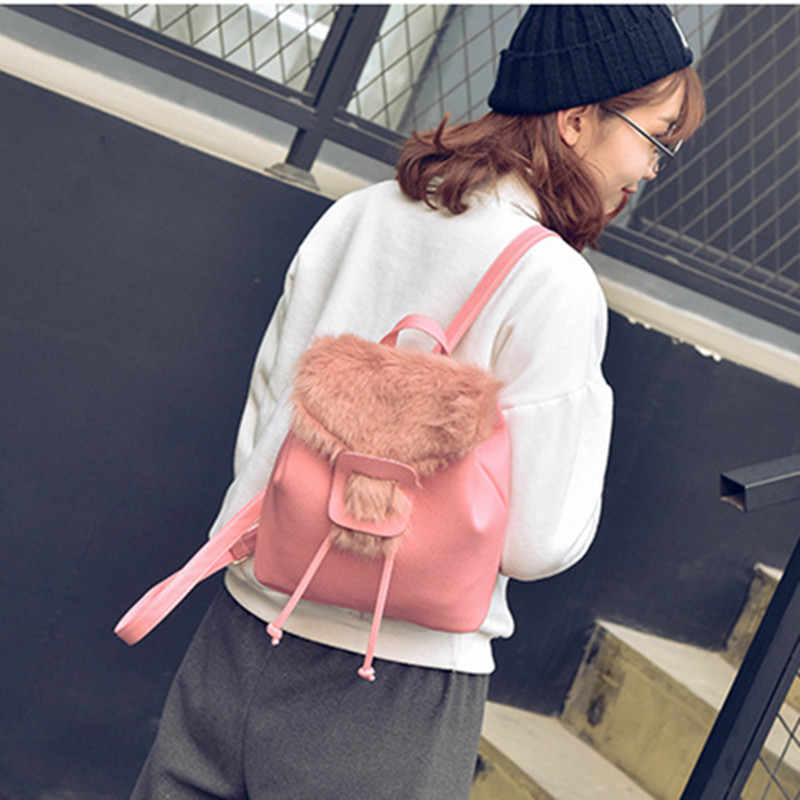 Faux Fur Backpack Mini Women Backpack PU Leather School Bag Women Casual Style Backpacks