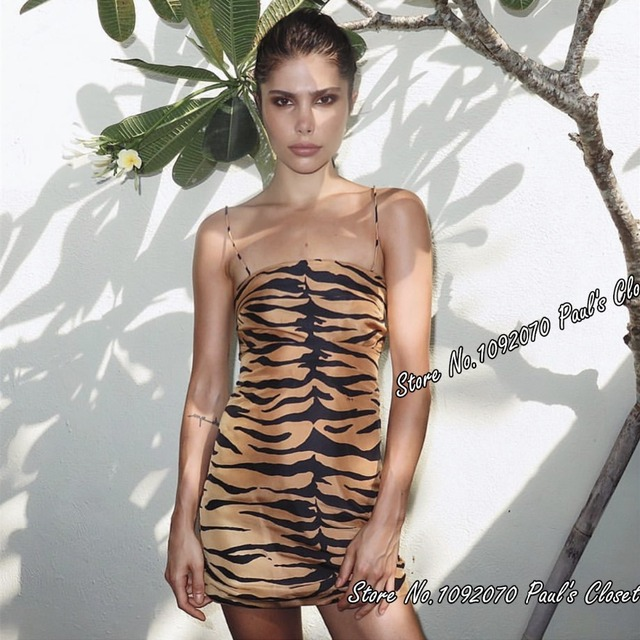 Women 100% Silk The Christy Tiger Mini Dress Spaghetti Straps 90's Style Tiger Print Cocktail Dress
