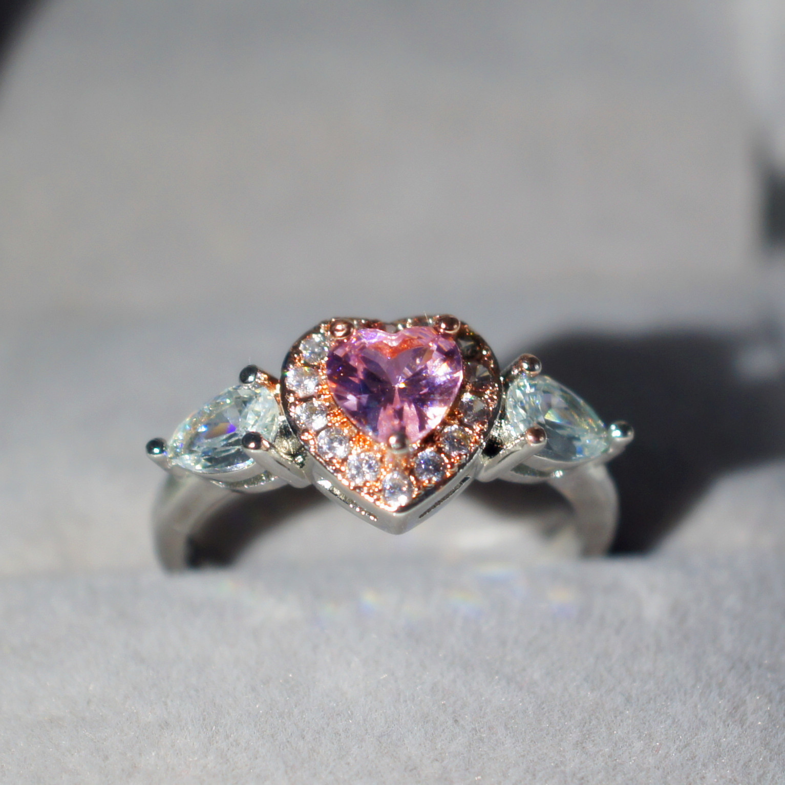 Pink Peach Heart Diamond Claw Ring 14K Multi Gold Anillos De Color Bague or Jaune Bizuteria Jewelry Ring for Women Gemstone 2019 in Rings from Jewelry Accessories