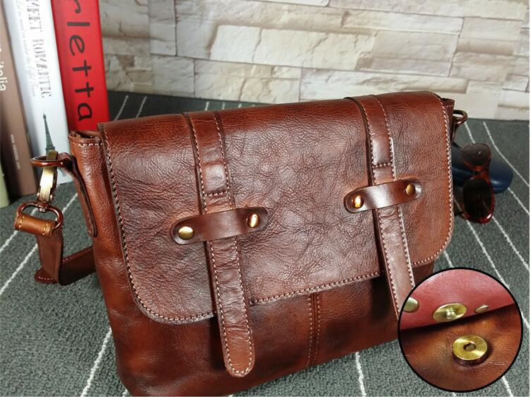 Vintage genuine leather women's messenger bag female one shoulder cross body bag new design exported shoulder bag first layer burgundy one shoulder frill layered design jumpsuit