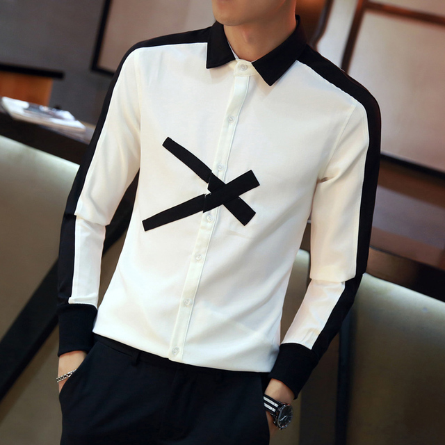 d701e045 Fashion Designer Men Shirt 2018 Autumn Slim Fit Long Sleeve Social Shirts  Dress Patchwork Color Scissor