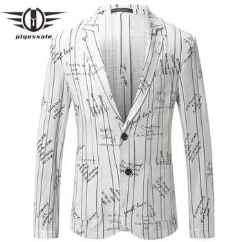 Plyesxale Brand Mens Summer Linen Blazers Elegant Man Blazer Casual Suit Jacket Stylish Letter Printed Blazer Hombre 2019 Q451 - DISCOUNT ITEM  39% OFF All Category