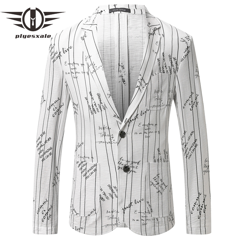 Plyesxale marka mężczyzna letnie lniane Blazers elegancki męski blezer garnitur casual kurtka stylowa list wydrukowano marynarka Hombre 2019 Q451 w Marynarki od Odzież męska na  Grupa 1