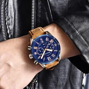 Image 3 - ساعة يد رجالي موضة BENYAR باللون الأزرق من أفضل الماركات الفاخرة لعام 2019 ساعة كوارتز للرجال كرونوغراف من الجلد