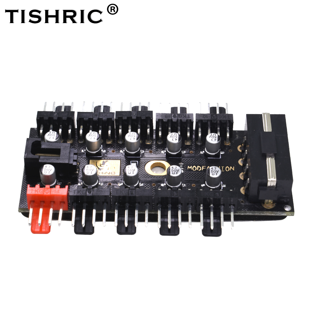 TISHRIC <font><b>1</b></font> to <font><b>10</b></font> <font><b>4Pin</b></font> PC Pwm Fans <font><b>4Pin</b></font> Sata Hub Splitter With Led Molex Cable Cooler 12V Power Suppply Cooling Adapter For Mining image