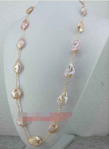 24 Huge Natural AAA++ Baroque 18-32mm south sea gold pink pearl necklace