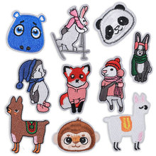 Embroidery Iron on Patches for Clothing Cartoon Patch Clothes Applique Stickers Badges Ironing Decorative Fox Sheep Panda Monkey 2 pieces car embroidered patch iron on clothes stickers ironing patches for clothing cap children cartoon badges applique diy