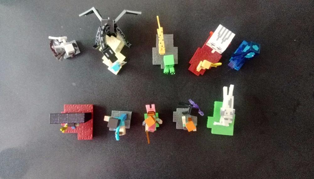 New 10PCS/Set <font><b>Minecraft</b></font> Steve <font><b>Alex</b></font> Zombie Skeleton Enderman scene Toy an Assembly Compatible Action Toy <font><b>Figures</b></font> For Kids Gifts