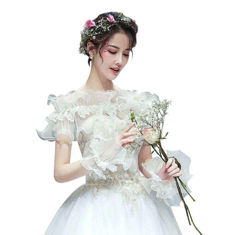 Women Bridal Off Shoulder Agaric Ruffled Shawl Shrug Pleated Floral Lace Splice Bow Wedding Bolero Cape With Mesh Cuffs Bracelet