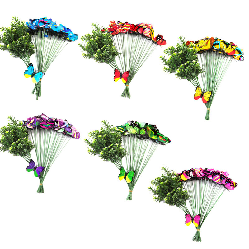 Creative Double Layer Simulation Butterfly Inserts Decorate Your Home Gardening Vases Decorative Butterfly Wedding Decoration in Party DIY Decorations from Home Garden