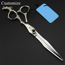 Tesoura de cachorro personalizada 440c, tesoura profissional japonesa de 7 polegadas com dragão, para tosa, barbeiro, cabelereiro e barbeiro