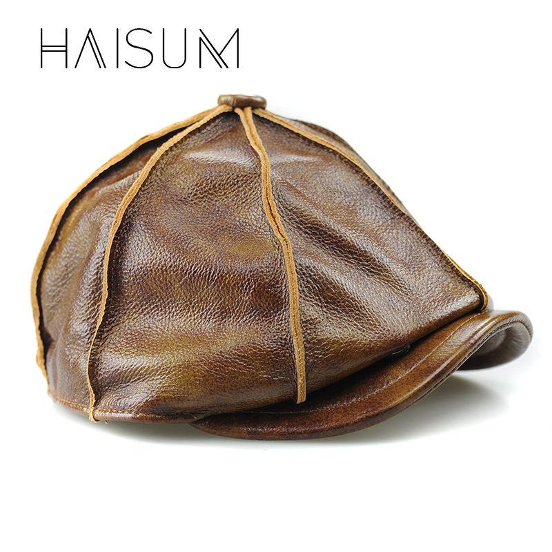 2018 Top Fashion Sale Fitted Adult Unisex Haisum Genuine Leather Hat Cap The Most Popular Cowhide Warm Winter With Padding Cs08 popular black unisex women men winter warm full face cover mask beanie hat cap