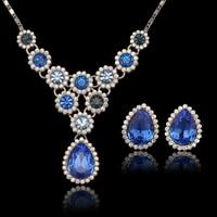 Luxurious Dress Jewelry Set Blue Stone Drop Water Austria Crystal Top Quality MxGxFam