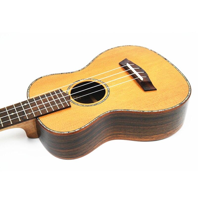 SevenAngel 23 pouces Concert ukulélé haut rigide seulement pin rouge bois hawaïen guitare électrique Ukelele avec ramassage EQ