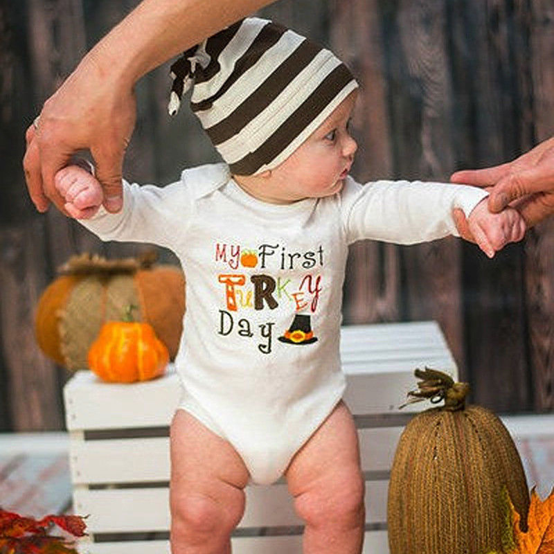 ed632ee13 Newborn Kids Baby Boy Girl Thanksgiving Outfits Clothes New Jumpsuit  Bodysuit Clothes Long Sleeve