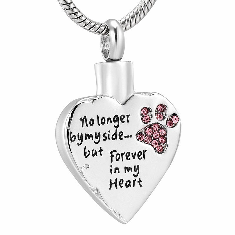 IJD9981 No Longer by My Side But Forever in My Heart Carved Locket Cremation Urn Necklace