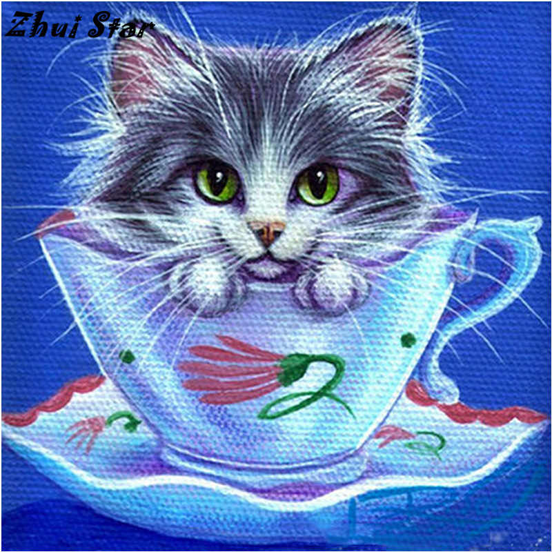 NEW 5D DIY Diamond Painting Tea Cup Cat Diamond Painting Cross Stitch Animal Needlework Diamond Mosaic Home Decorative FC301