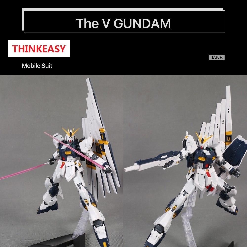 ThinkEasy Japaness Puzzle Action Figures Robot Anime Assembled Gundam MG 1:100MG V GUNDAM Luminous Stickers Classic Toy Gundam стоимость
