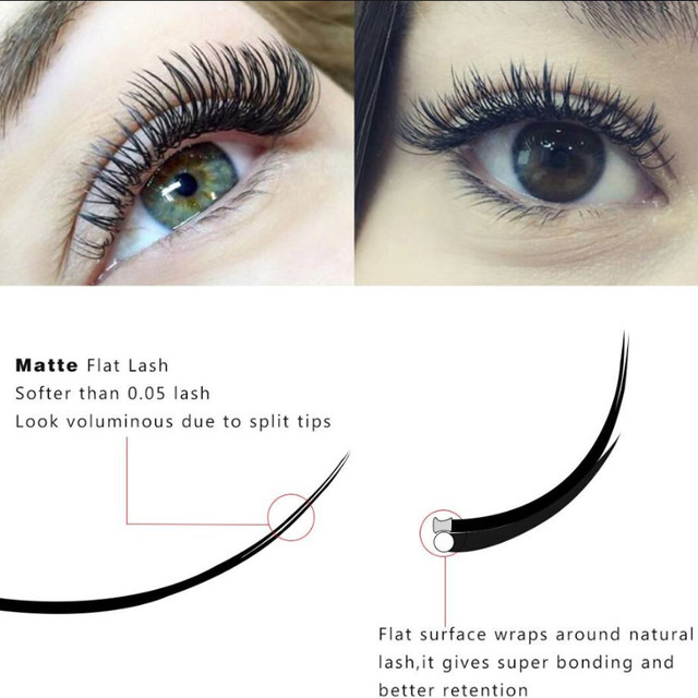 Free Shipping New All Styles Flat Ellipse Eyelashes Extensions split tips ellipse shaped natural light false ellipse eyelashes 4