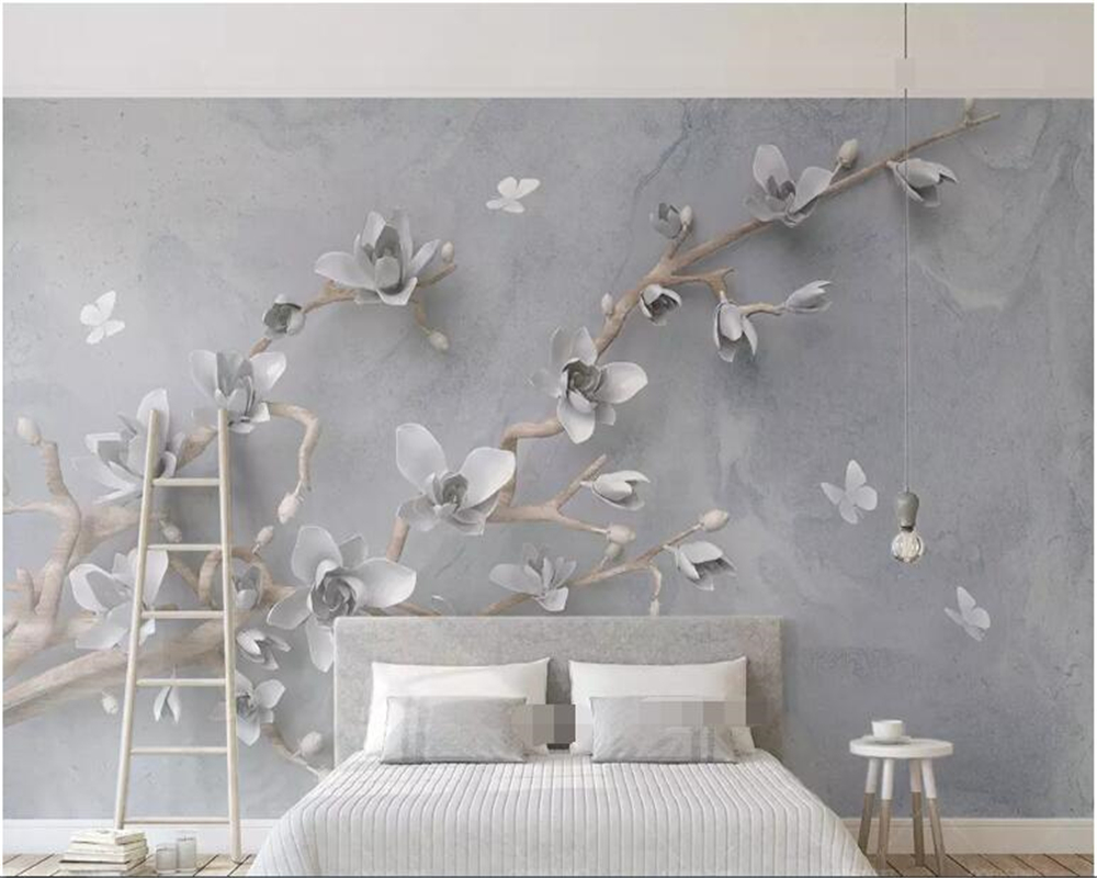 beibehang papel de parede 3D three dimensional relief jade orchid butterfly modern simple TV background wallpaper hudas beauty in Wallpapers from Home Improvement