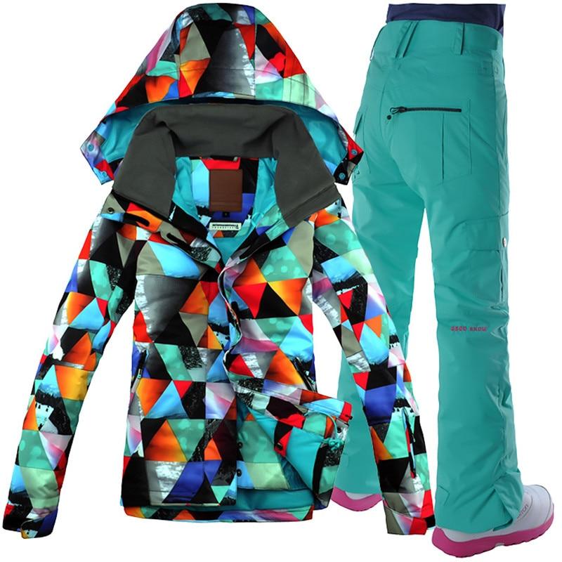 2018 GSOU NEIGE Femmes combinaison de Ski Snowboard Costume Vêtements De Ski Super Chaud Ski Veste Pantalon Coupe-Vent Imperméable À L'eau Femelle Costume Veste pantalon