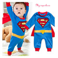 2016 Newborn Baby Boy Clothes Bebe Cotton Short Sleeve Superman Baby Rompers Baby Costume Superman Birthday Baby Body Clothes