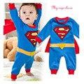 2016 Roupas Bebê Recém-nascido Menino Bebe Algodão de Manga Curta Macacão de Bebê Superman Superman Traje Do Bebê do Aniversário Roupas Do Corpo Do Bebê