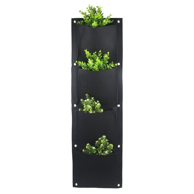 4 And 7-Pocket Felt Vertical Gardening Flower Pots Planter Hanging Pots Planter On Wall Garden Green Field
