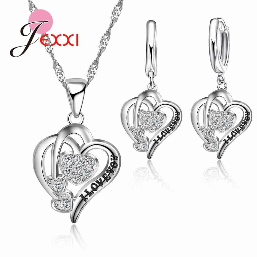 Real 925 Sterling Silver Best Valentine's Day Gifts For Girlfriend Romantic Love Letters Carved Zircons Jewelry Sets