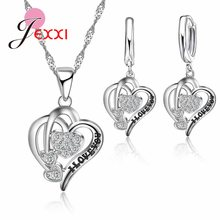 Real 925 Sterling Silver Best Valentine's Day Gifts For Girlfriend Romantic Love Letters Carved Zircons Jewelry Sets(China)