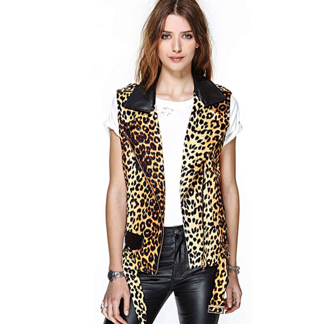2015 autumn winter new arrival Europe and America leopard sleeveless turn down collar PU stitching fashion vest h545