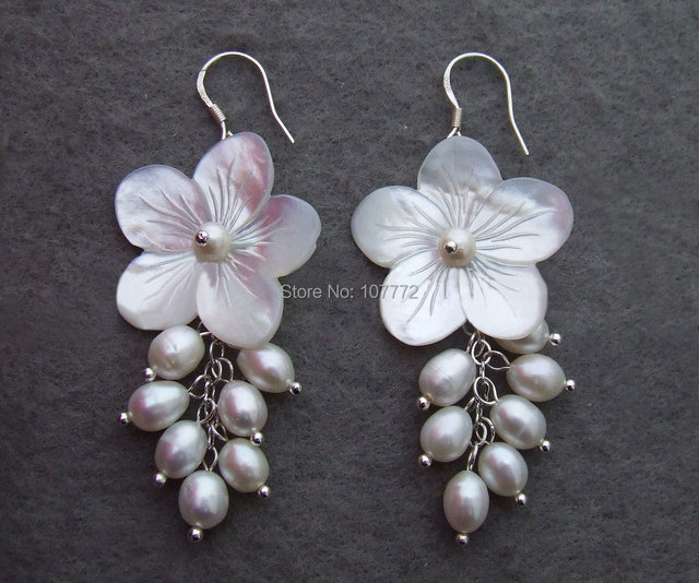 @@~~  Pearl&Shell Flower Earrings-925 Silver Hook   free + shippment