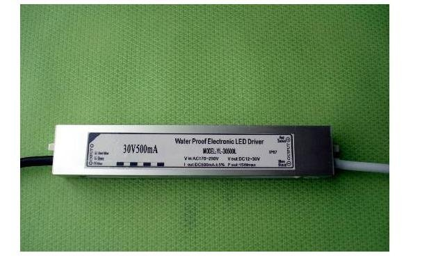 waterproof led constant current driver;AC90-250V input;output 500mA/15W;P/N:YL-30500L