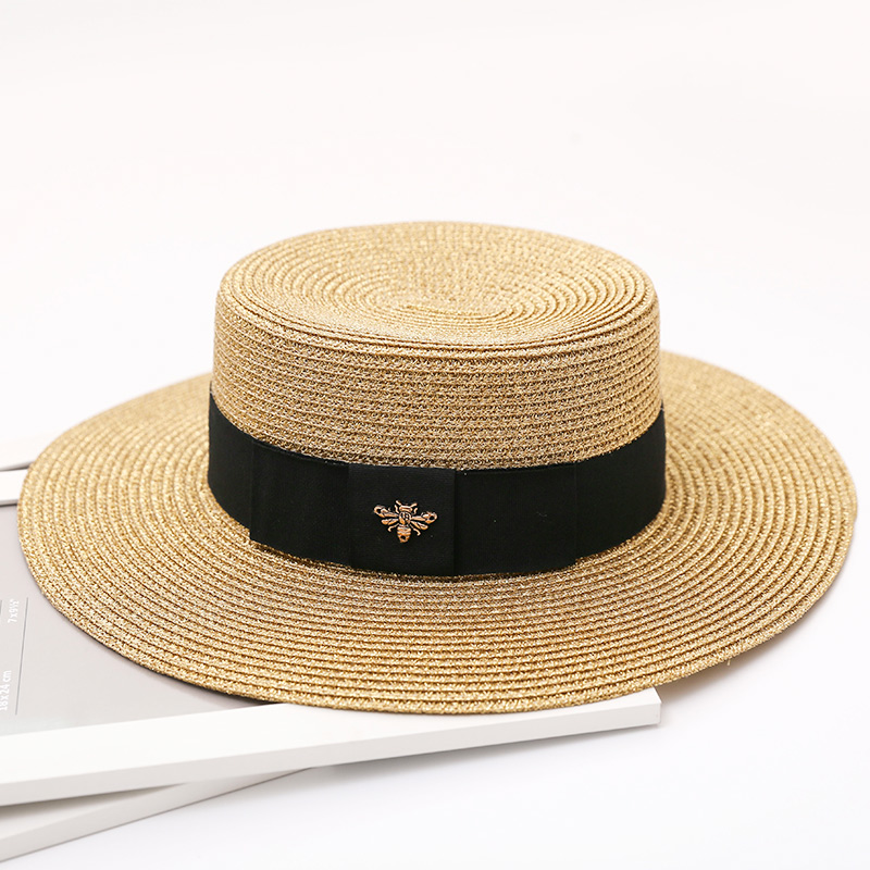 HSS 2017 New Summer Women Hats Bling Golden Fashion straw hat England Sea Beach trip caps fast shipping