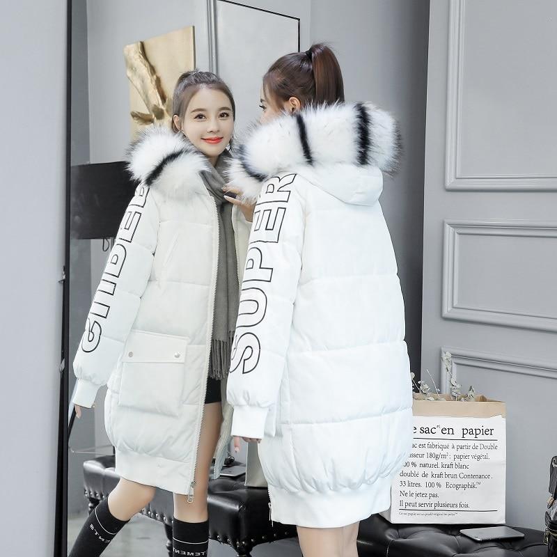 Deux D'hiver Fourrure Kuyomens De Col À Veste Parka Capuchon Femmes Noir Oversize Avec Manteau blanc Poches Manteaux Femelle 2018 8gqgApnZ