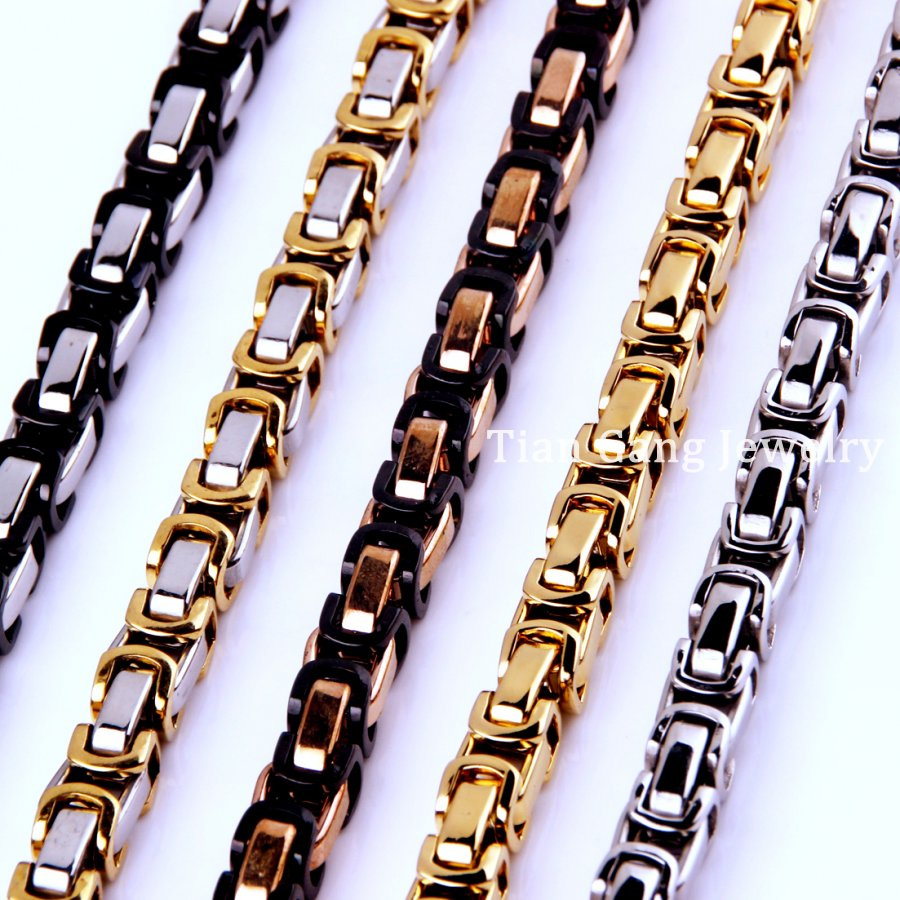 7~40 4/5/8mm Charming Jewelry 316L Stainless Steel Silver/Gold/Black/Rose Gold Byzantine Box Chain Mens Women Necklace/Bracelet no 7 stylish 316l stainless steel hand skeleton pendant necklace black silver