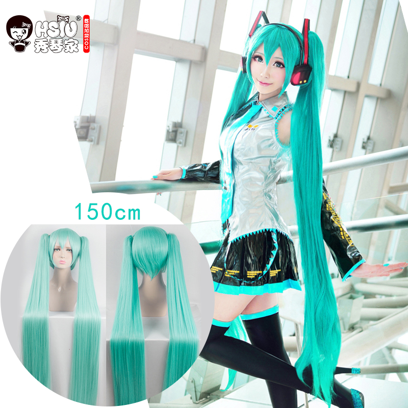 HSIU High Quality VOCALOID Cosplay Paryk Hatsune Miku Kostyme Spill Parykker Halloween Party Anime Game Hair 120cm Aquamarine Paryk