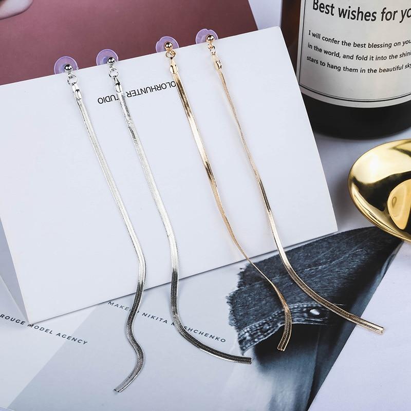 329cbdce1 New Arrival Gold/Silver Color Long Tassel Dangle Earrings Metal Hanging Drop  Earring For Women