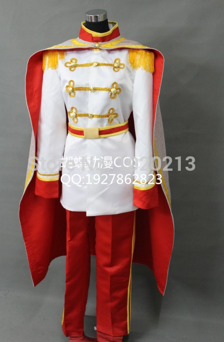 High Quality Cinderella Prince Charming Costume Uniform Suit Outfit Adult Men's Halloween Cosplay Costume