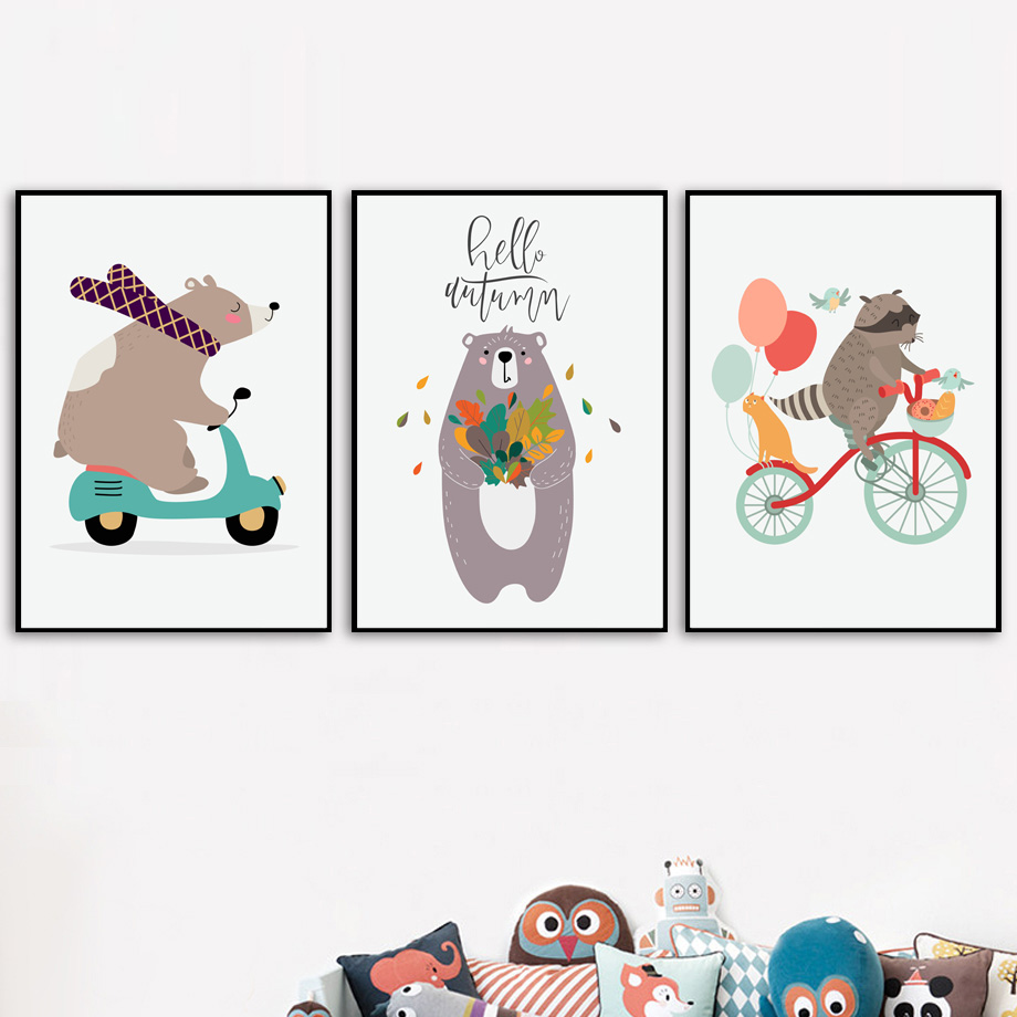 Cartoon Bear Raccoon Balloon Arrow Wall Art Canvas Painting Nordic Posters And Prints Nursery Wall Pictures For Kids Room Decor in Painting Calligraphy from Home Garden