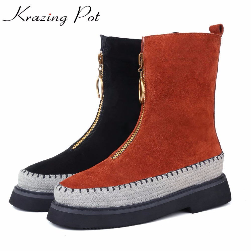 Krazing pot 2018 cow suede oriental round toe low heels round buckle fashion boots for winter leisure cowboy mid-calf boots L18 double buckle cross straps mid calf boots