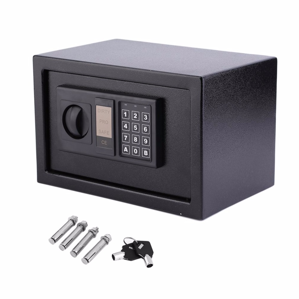 цена на Digital Electronic Coded Lock Home Office Safe Box & Override Key Programmed Between 3-8 Numbers Keypad with LED Indicator