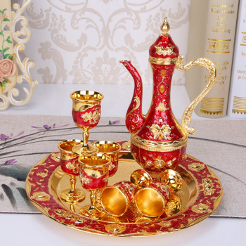 Liquor Set with Liquor Cup retro creative wedding gifts Metal Russian Wine Bottle Set Household Home Decoration