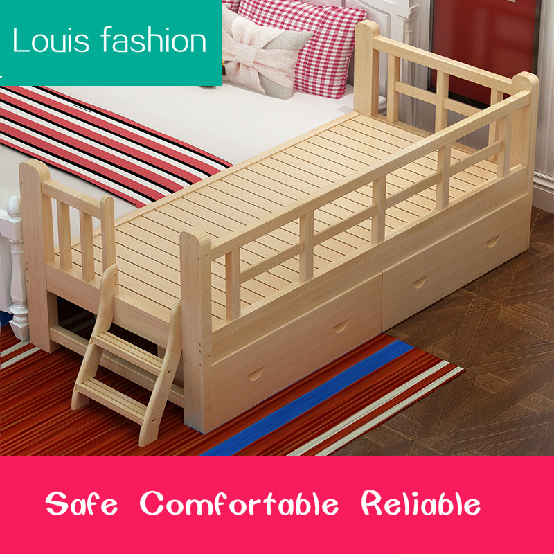 Aliexpress Buy Louis Fashion Solid Wood Children Bed Barrier Small Single Boy Girl Princess Child Widened Splicing From Reliable
