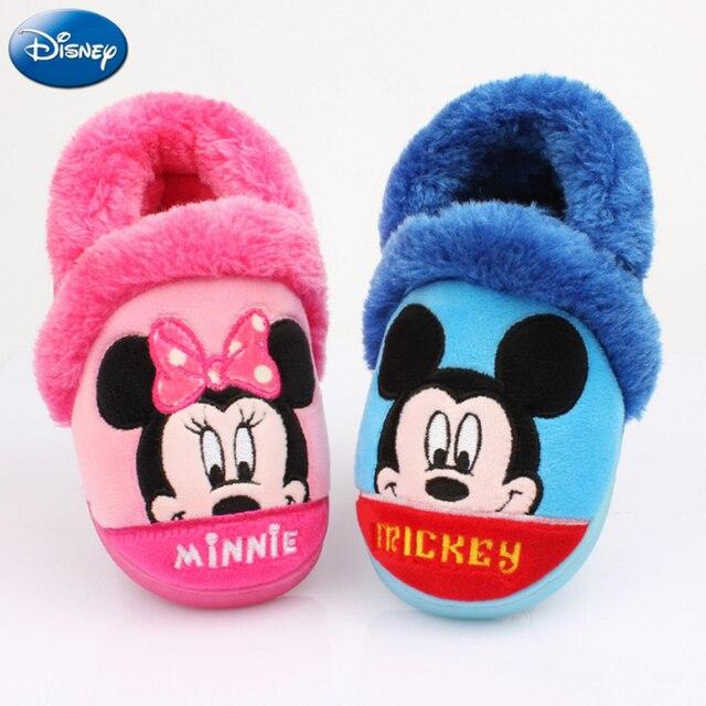 070c45c4fe Disney Crianças Chinelos Em Casa Meninas Minnie Mouse Mickey 2018 Meninos  Sapatos de Inverno De Pelúcia